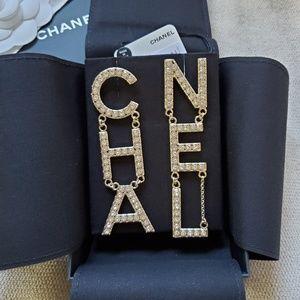 CHANEL Crystal Letter Earrings